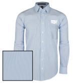 Mens French Blue/White Striped Long Sleeve Shirt-Wabash