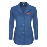 Ladies Red House Deep Blue Herringbone Non Iron Long Sleeve Shirt-Wabash
