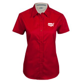 Ladies Red Twill Button Up Short Sleeve-Wabash