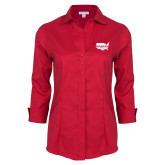 Ladies Red House Red 3/4 Sleeve Shirt-Wabash