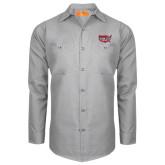 Red Kap Light Grey Long Sleeve Industrial Work Shirt-Wabash