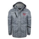 Grey Brushstroke Print Insulated Jacket-Wabash