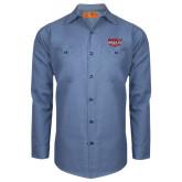 Red Kap Postman Blue Long Sleeve Industrial Work Shirt-Wabash