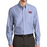 Mens Light Blue Crosshatch Poplin Long Sleeve Shirt-Wabash
