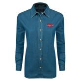 Ladies Denim Long Sleeve Shirt-Wabash