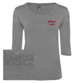 Ladies Grey Heather Tri Blend Lace 3/4 Sleeve Tee-Wabash