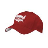 Red Mesh w/White Sandwich Structured Hat-Wabash