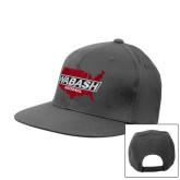 Charcoal Flat Bill Snapback Hat-Wabash