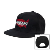 Black Flat Bill Snapback Hat-Wabash