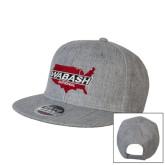 Heather Grey Wool Blend Flat Bill Snapback Hat-Wabash