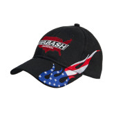Black US Flag Flame Cotton Twill Structured Hat-Wabash