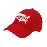 Red Twill Unstructured Low Profile Hat-Wabash