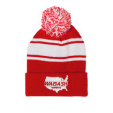 Red/White Two Tone Knit Pom Beanie with Cuff-Wabash