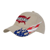 Khaki US Flag Flame Cotton Twill Structured Hat-Wabash