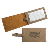 Ultra Suede Tan Luggage Tag-Wabash Engraved