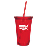 Madison Double Wall Red Tumbler w/Straw 16oz-Wabash
