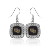 Crystal Studded Square Pendant Silver Dangle Earrings-WF