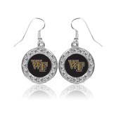 Crystal Studded Round Pendant Silver Dangle Earrings-WF