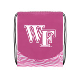 Nylon Zebra Pink/White Patterned Drawstring Backpack-WF