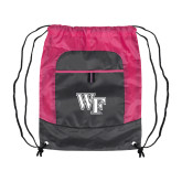 Nylon Pink Raspberry/Deep Smoke Pocket Drawstring Backpack-WF