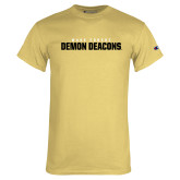 Champion Vegas Gold T Shirt-Stacked Wake Forest Demon Deacons