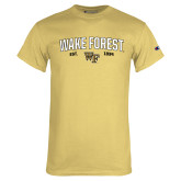 Champion Vegas Gold T Shirt-Arched Wake Forest Est. 1834