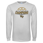 White Long Sleeve T Shirt-2017 Mens Soccer Champions