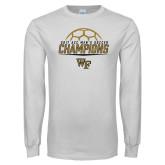 White Long Sleeve T Shirt-2017 Mens Soccer Champions