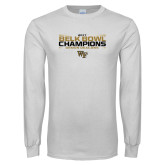 White Long Sleeve T Shirt-2017 Belk Bowl Champions - Stacked Bars
