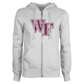 ENZA Ladies White Fleece Full Zip Hoodie-WF Pink Glitter