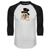White/Black Raglan Baseball T-Shirt-Deacon Head
