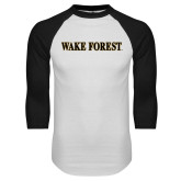 White/Black Raglan Baseball T-Shirt-Wake Forest