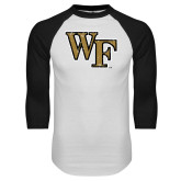 White/Black Raglan Baseball T-Shirt-WF Distressed