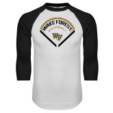 White/Black Raglan Baseball T-Shirt-Baseball Plate Design