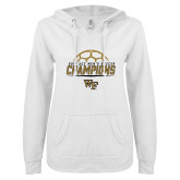 ENZA Ladies White V Notch Raw Edge Fleece Hoodie-2017 Mens Soccer Champions