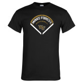 Black T Shirt-Baseball Plate Design
