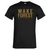 Black T Shirt-Wake Forest University Stacked