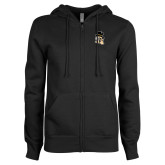 ENZA Ladies Black Fleece Full Zip Hoodie-Deacon Head