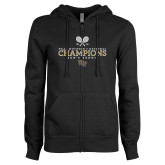 ENZA Ladies Black Fleece Full Zip Hoodie-2018 Mens Tennis Champions