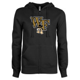 ENZA Ladies Black Fleece Full Zip Hoodie-WF w/ Deacon Head