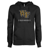 ENZA Ladies Black Fleece Full Zip Hoodie-Field Hockey