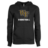 ENZA Ladies Black Fleece Full Zip Hoodie-WF Basketball