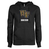 ENZA Ladies Black Fleece Full Zip Hoodie-WF Soccer