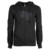 ENZA Ladies Black Fleece Full Zip Hoodie-WF Graphite Soft Glitter