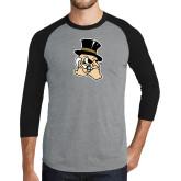 Grey/Black Tri Blend Baseball Raglan-Deacon Head