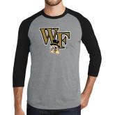 Grey/Black Tri Blend Baseball Raglan-WF w/ Deacon Head