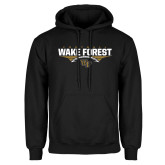Black Fleece Hoodie-Football Wing Design