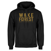 Black Fleece Hoodie-Wake Forest University Stacked