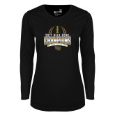 Ladies Syntrel Performance Black Longsleeve Shirt-2017 Belk Bowl Champions - Football Stacked