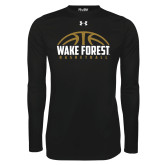 Under Armour Black Long Sleeve Tech Tee-Arched Basketball Design